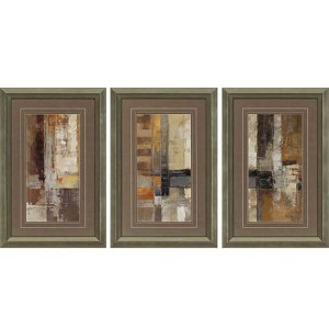 One Way Street by Vassileva: 36 x 24 Framed Acrylic Paint, Set of 3