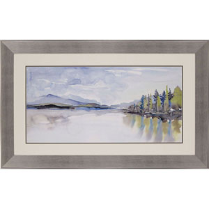 Lakefront Watercolor by Gold: 33 H x 52 W-Inch Framed Art