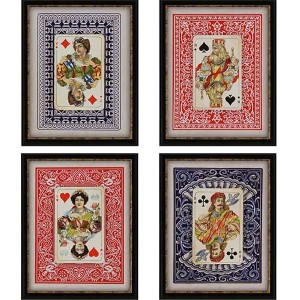 Playing Cards by Burney: 20 x 16 Framed Giclee Printed, Set of 4