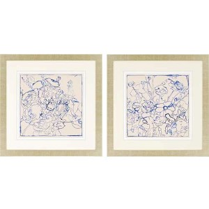 Indigo Floral by Meagher: 32 x 32 Framed Giclee Printed, Set of 2