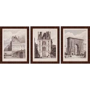 French Landmarks I by Pugin: 26 x 20-Inch Framed Wall Art, Set of Three