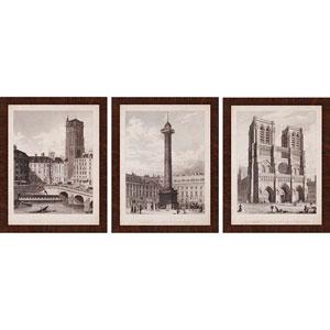 French Landmarks II by Pugin: 26 x 20-Inch Framed Wall Art, Set of Three
