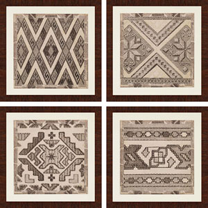 Kuba Detail by Vision Studio: 24 x 24-Inch Framed Wall Art, Set of Four