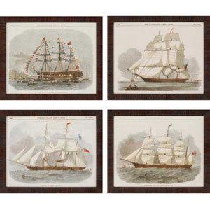 Ships by Vision Studio: 18 x 22-Inch Framed Wall Art, Set of Four