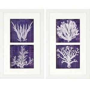 Seaweed by Robertson: 34 x 21 Framed Acrylic Paint, Set of 2