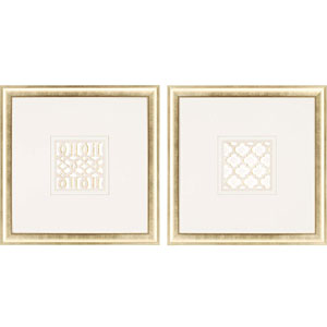 Gilded Lattice by Santos: 35 x 35-Inch Framed Wall Art, Set of Two