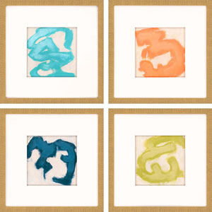 Gestural II by Vess: 20 x 20-Inch Wall Art, Set of Four