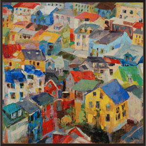 Reykjavik Rooftops By Dixon: 38 x 38 Framed Wall Art