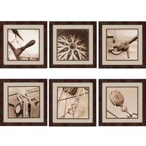 Nautical by Kahn: 18 x 18-Inch Framed Wall Art, Set of Six