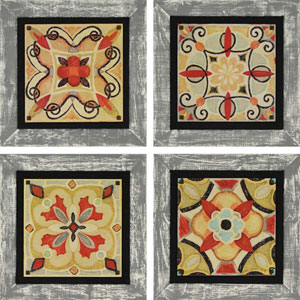 Bohemian Tiles by Brissonnet: 18 x 18-Inch Framed Wall Art, Set of Four