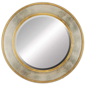 Gold and Silver Round Mirror