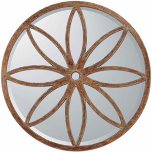Aged Brown Round Petal Motif Mirror