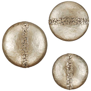 Aged Silver Hammered Discs Wall Sculpture, Set of Three