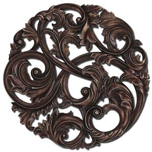 Aged Copper Leaf Swirl Wall Sculpture