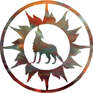 18-Inch Sun with Wolf Wall Art