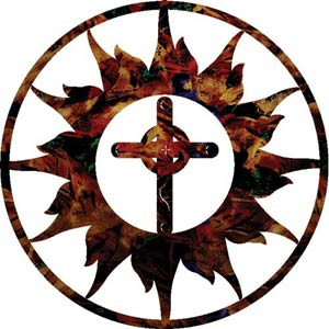 18-Inch Sun with Celtic Simple Cross Wall Art