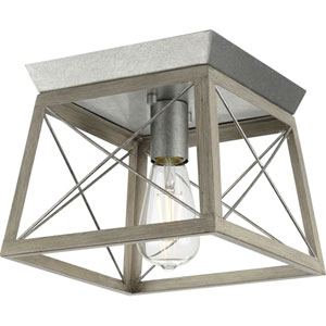 Briarwood Galvanized and Bleached Oak One-Light Flush Mount Ceiling Light