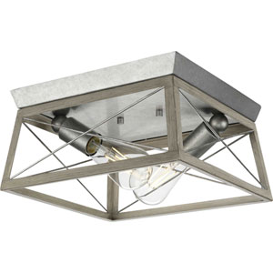 Briarwood Galvanized and Bleached Oak Two-Light Flush Mount Ceiling Light