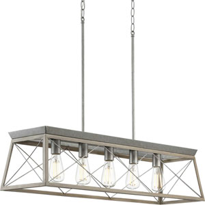 Briarwood Galvanized and Bleached Oak Five-Light Linear Island Chandelier