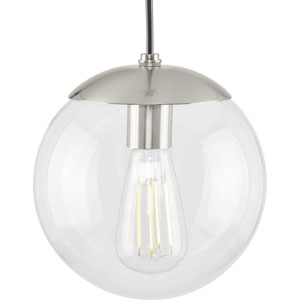 Atwell Brushed Nickel One-Light Mini Pendant with Clear Glass