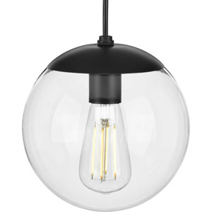 Atwell Matte Black One-Light Mini Pendant with Clear Glass
