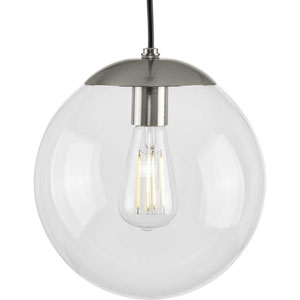 Atwell Brushed Nickel One-Light Pendant with Clear Glass