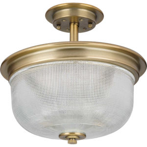 P2334-163 Archie Vintage Brass 12-Inch Two-Light Semi-Flush Mount