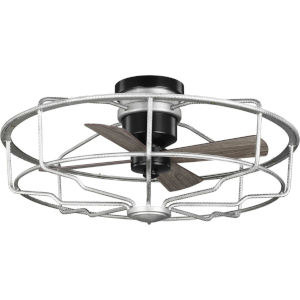 Loring Galvanized Finish 33-Inch Ceiling Fan with Open Cage Frame