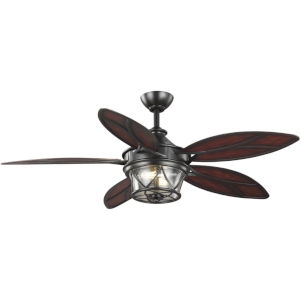 Alfresco Architectural Bronze 54-Inch Two-Light Ceiling Fan with Clear Seeded Shade