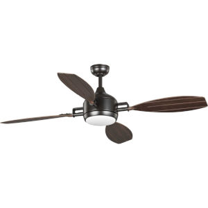Rudder Architectural Bronze 56-Inch LED Ceiling Fan with Opal Shade