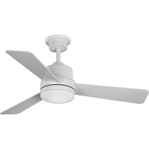 Trevina II Satin White 44-Inch LED Ceiling Fan with White Opal Shade