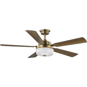 Tempt Vintage Brass 52-Inch LED Ceiling Fan with Clear Prismatic Shade