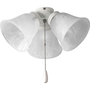 P2642-30: AirPro White Three-Light Ceiling Fan Light Kit with Alabaster Glass