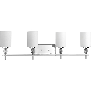 P2777-15: Status Polished Chrome Four-Light Bath Vanity with Etched Linen Glass