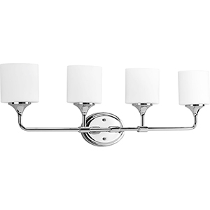 P2804-15: Lynzie Polished Chrome Four-Light Bath Vanity with Etched Opal Glass