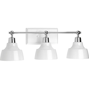 P300041-015: Bramlett Polished Chrome Three-Light Bath Vanity