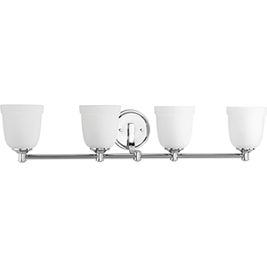 P300060-015: Topsail Polished Chrome Four-Light Bath Vanity with Etched Parchment Glass
