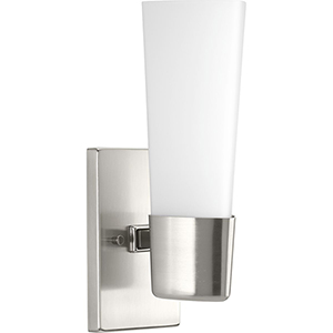 P300061-009: Zura Brushed Nickel One-Light Bath Sconce with Etched Opal Glass