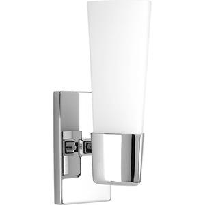 P300061-015: Zura Polished Chrome One-Light Bath Sconce with Etched Opal Glass