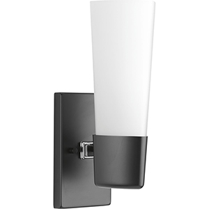 P300061-031: Zura Black One-Light Bath Sconce with Etched Opal Glass