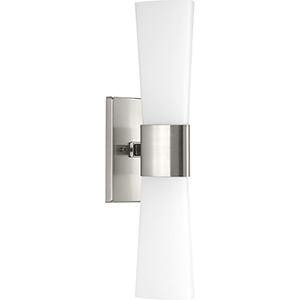 P300062-009: Zura Brushed Nickel Two-Light Bath Sconce with Etched Opal Glass