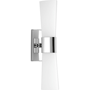 P300062-015: Zura Polished Chrome Two-Light Bath Sconce with Etched Opal Glass