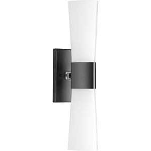 P300062-031: Zura Black Two-Light Bath Sconce with Etched Opal Glass