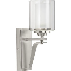 Kene Brushed Nickel Five-Inch One-Light Bath Vanity with Clear Shade