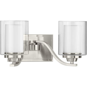 Kene Brushed Nickel 16-Inch Two-Light Bath Vanity with Clear Shade