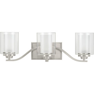 Kene Brushed Nickel 24-Inch Three-Light Bath Vanity with Clear Shade