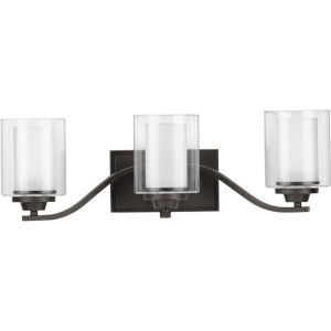 Kene Graphite 24-Inch Three-Light Bath Vanity with Clear Shade