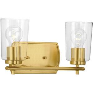 P300155-012 Adley Satin Brass 14-Inch Two-Light Bath Vanity