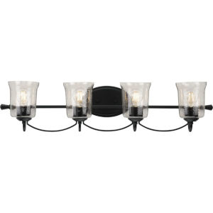 Bowman Matte Black 34-Inch Four-Light Bath Vanity with Clear Chiseled Glass Shade