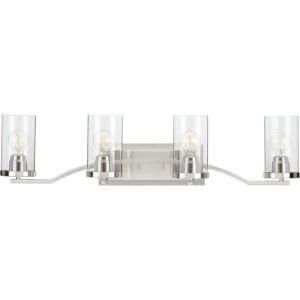 Lassiter Brushed Nickel 34-Inch Four-Light Bath Vanity with Clear Shade